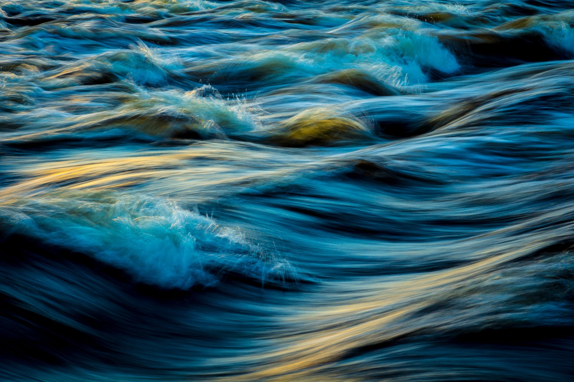 blue water in river